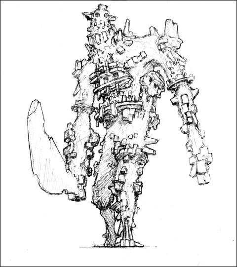 Concept art d'un colosse.